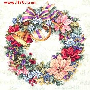 十字绣图纸:美丽花环